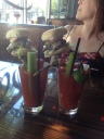 Bloody Marys from Sam's Tavern. No idea what K is looking at.